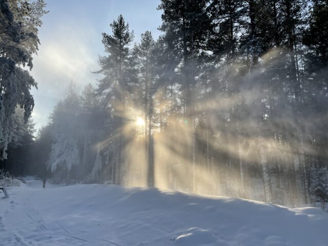 ett snöigt och soligt landskap